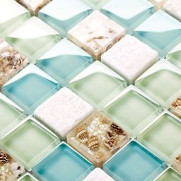 10 Best Sea Glass Backsplash Tile Collections For Amazing in Diy Beach Bathroom Decor