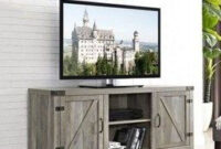 35 Best Minimalist Farmhouse Tv Stand Ideas For Your Living inside Barn Door Living Room