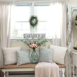 85 Stuning Farmhouse Living Room Decorating Ideas | Spring within Farmhouse Kitchen Curtain Ideas