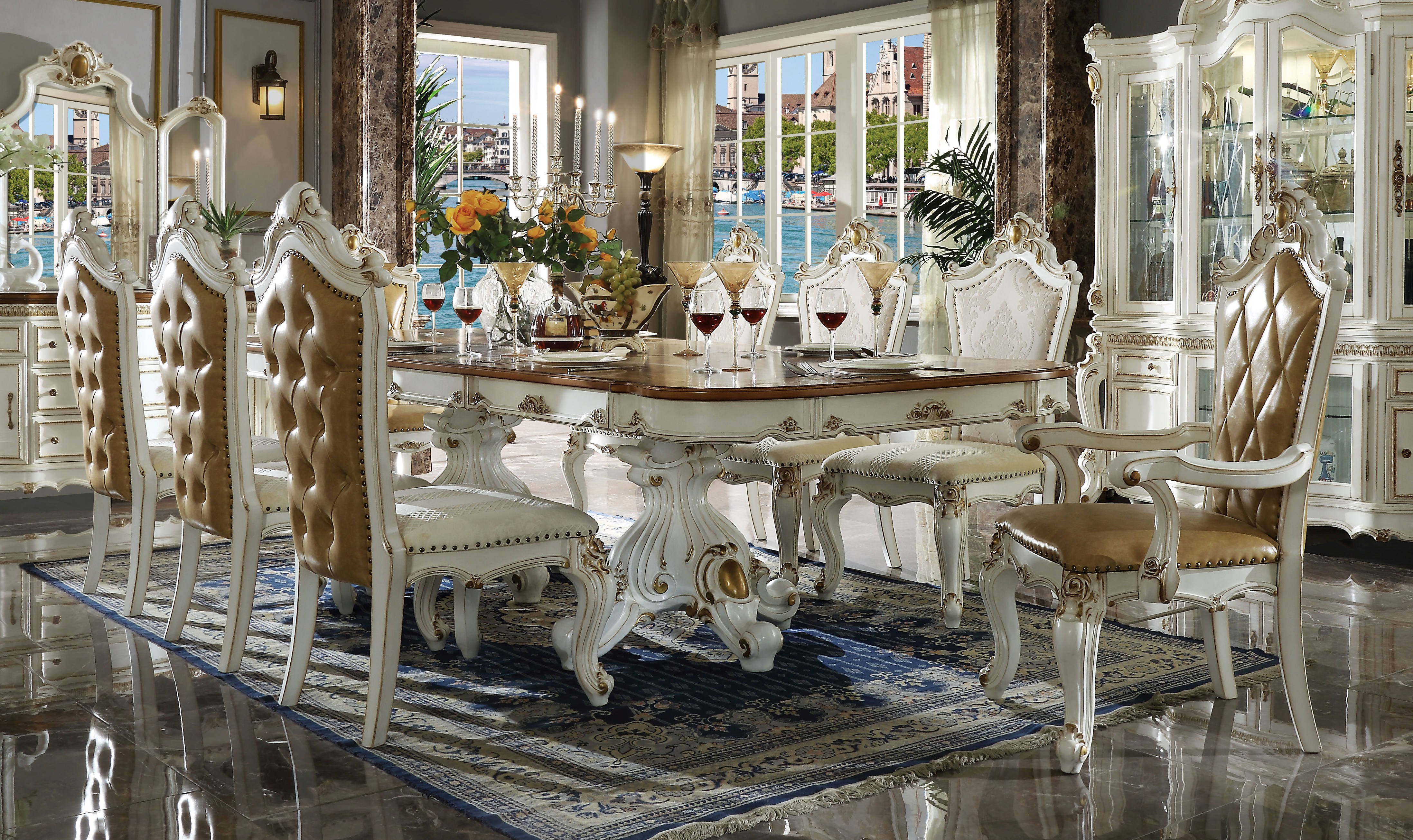 Acme Furniture Picardy Antique Pearl 9Pc Dining Room Set with Acme Furniture Dining Room Sets