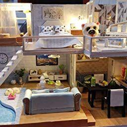 Amazonsmile: Cutebee Dollhouse Miniature With Furniture, Diy with 1 24 Scale Dollhouse Furniture