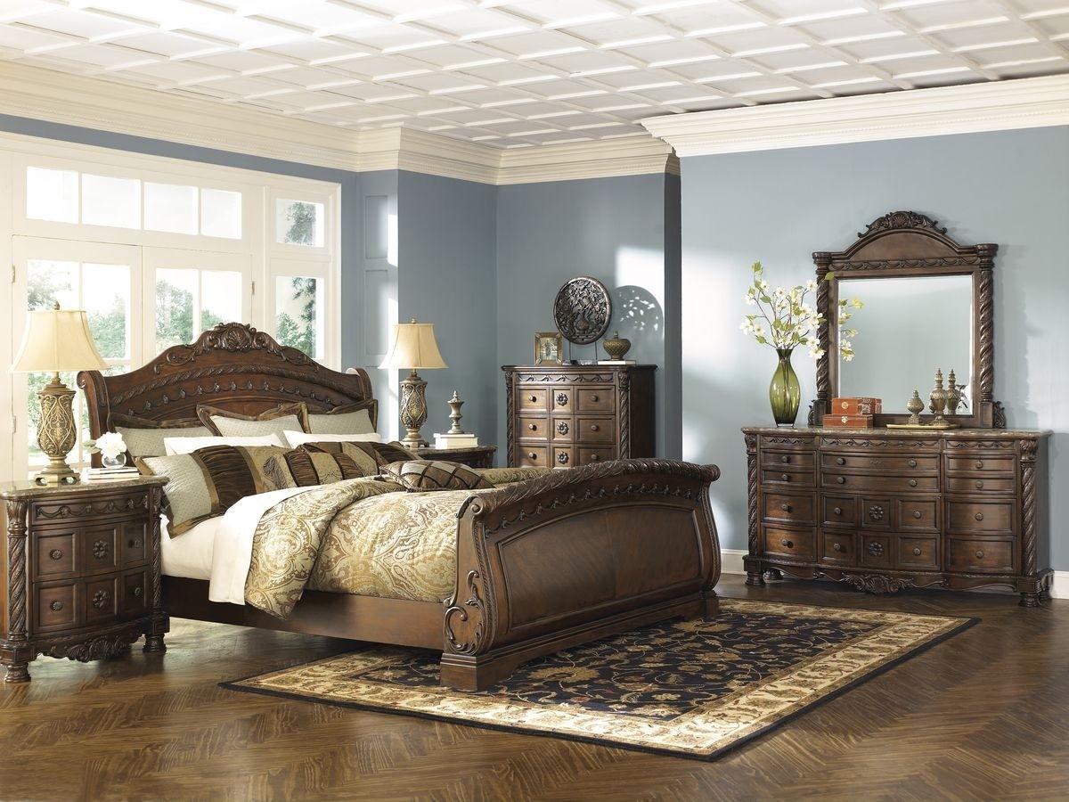 Ashley Furniture North Shore Sleigh Bedroom Set In Dark Brown inside Ashley Furniture Sleigh Bedroom Set