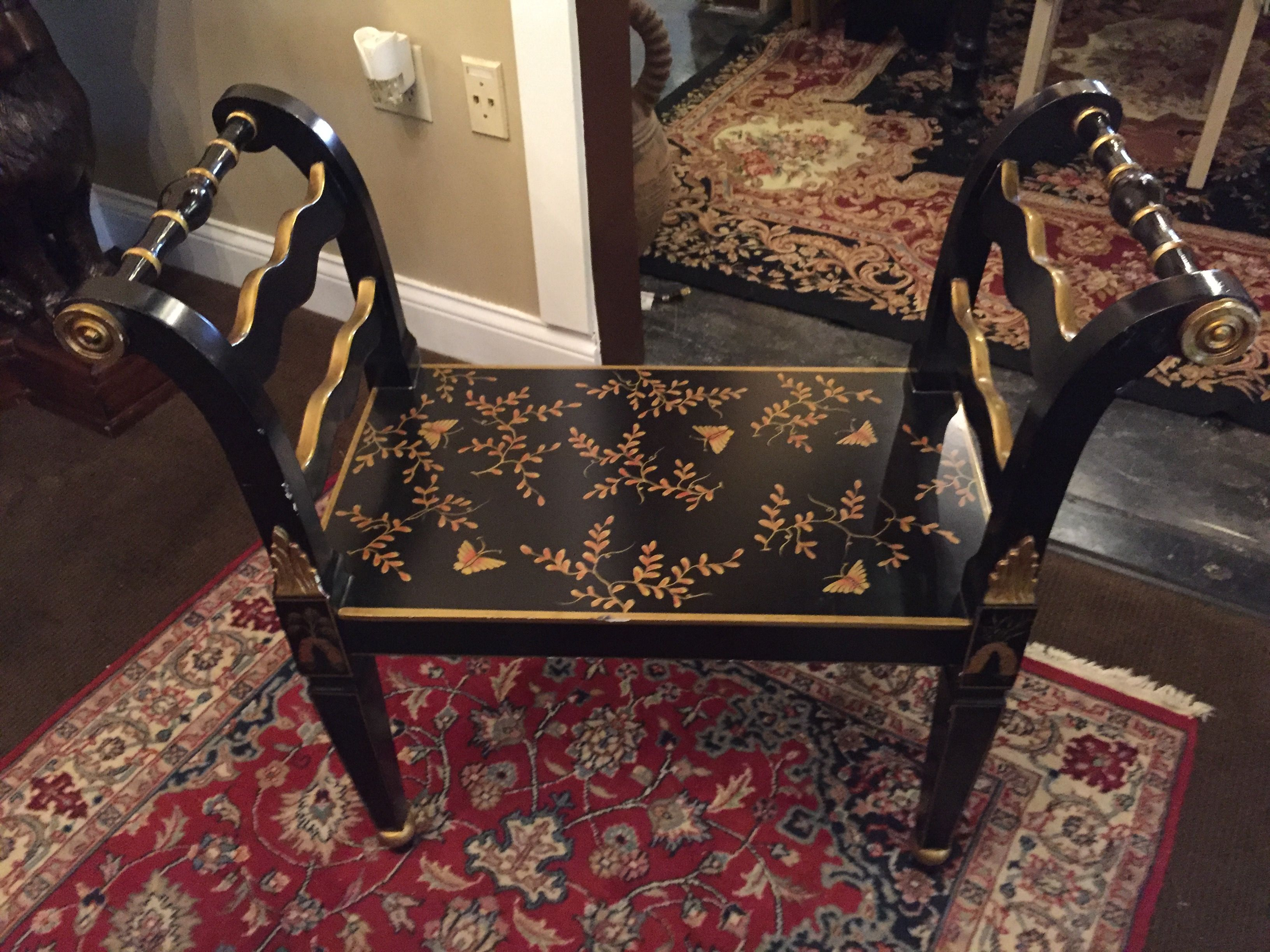 Black & Gold Butterfly Motif Bench - Cool Springs - Classy regarding Classy Cat Consignment Furniture