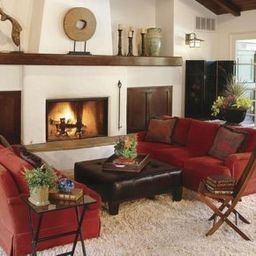 Brilliant Red Couch Living Room Design Ideas 05 | Red Couch with Accent Pieces For Living Room