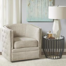 Capstone Swivel Chair, Cream in Accent Armchairs For Living Room