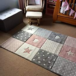 Children Rug Play Carpet Baby Rug Girl With Heart Star Pink throughout Baby Play Area In Living Room