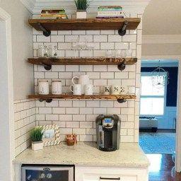 Cool Modern Farmhouse Kitchen Backsplash Ideas 21   Floating intended for Floating Shelves Kitchen Ideas