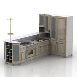 Download 3D Kitchen | Almirah Design | Kitchen 3D Model with Kitchen Microwave Ideas