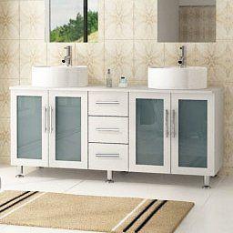 """Ebern Designs Swearingen 59"""" Double Vessel Modern Bathroom throughout 10 Inch Wide Bathroom Cabinet"""