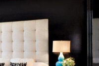 Headboard With Black Accent Wall Beautiful | Home Bedroom for Accent Wall Ideas For Small Living Room