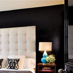 Headboard With Black Accent Wall Beautiful   Home Bedroom for Accent Wall Ideas For Small Living Room