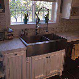 Kraus Khf203-36 36 Inch Farmhouse Apron 60/40 Double Bowl 16 within 16 Inch Bathroom Sink