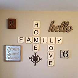 "Large Scrabble Type Tiles Set, ""Family, Home,Love"" Family for Kitchen Wall Art Ideas"