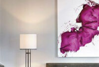 Love This Canvas In A Monotone Room - Great Pop Of Color in Grey And Purple Living Room