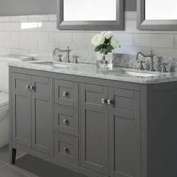 "Maili 60"" Double Bathroom Vanity Set Ancerre Designs Base in Bathroom Double Vanity Tops"