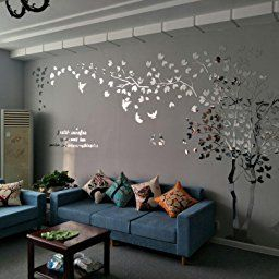 N.sunforest 3D Crystal Acrylic Couple Tree Wall Stickers with 3D Wallpaper For Living Room