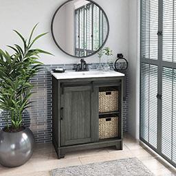 """Pamari Cassara 30"""" Geneva Oak Single Bathroom Vanity With Sliding Barn Door  And Sink in 19 Inch Depth Bathroom Vanity"""