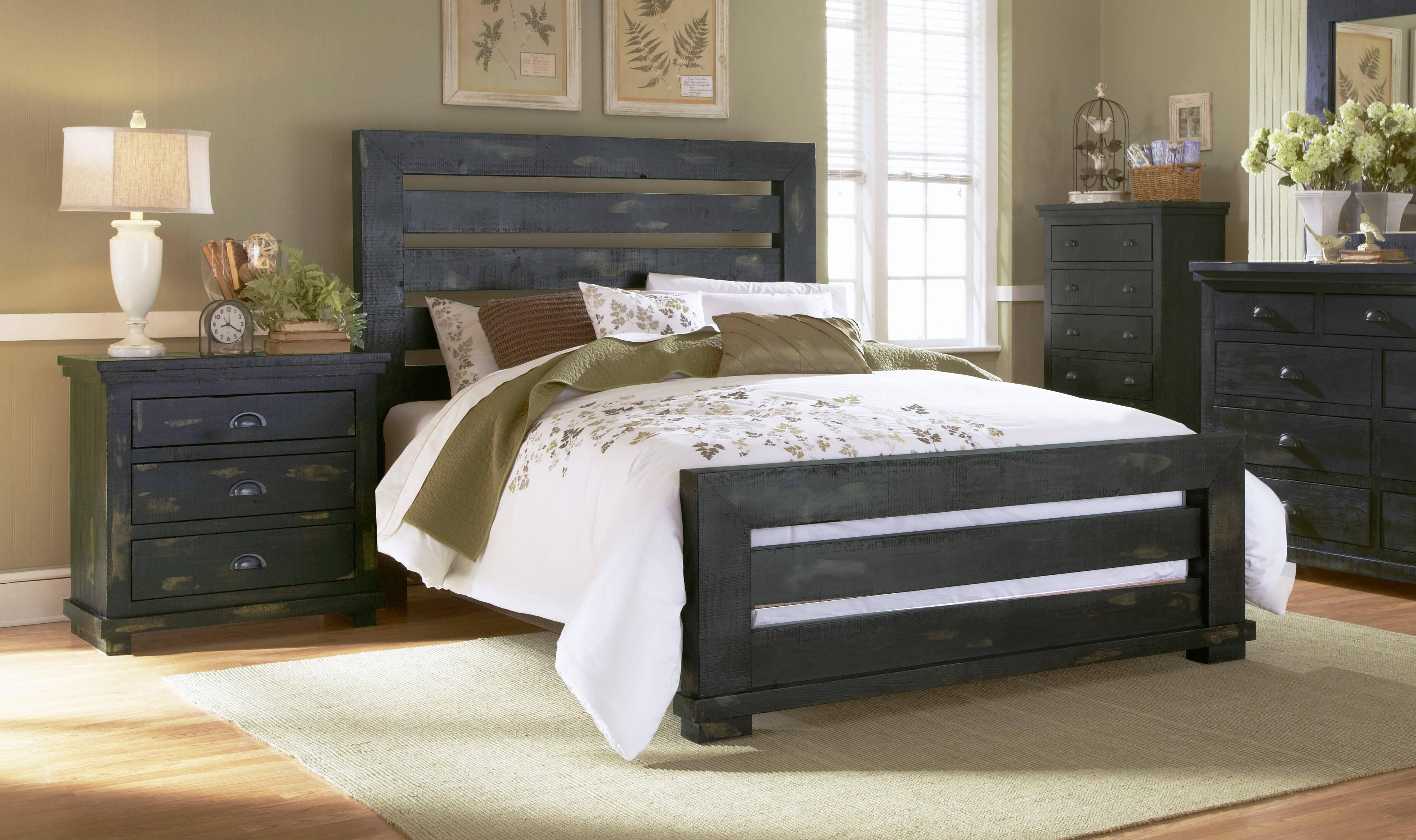 Progressive Furniture Willow Distressed Black 2Pc Bedroom Set With Queen  Slat Bed in Black Distressed Bedroom Furniture