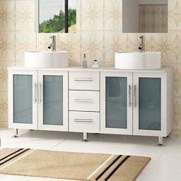 """Swearingen 59"""" Double Vessel Modern Bathroom Vanity in 16 Inch Deep Bathroom Vanity"""