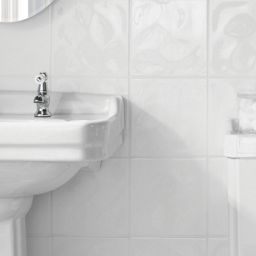Wickes Bumpy White Gloss Ceramic Wall Tile 200 X 200Mm with 12X24 Bathroom Tile Layout