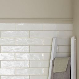 Wickes Farmhouse Pannacotta Ceramic Wall Tile 75 X 300Mm with regard to Light Green Bathroom Ideas