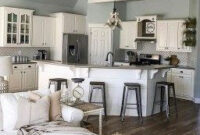 35 Beautiful Farmhouse Kitchen Art Ideas To Scale Up Your with Modern Living Room And Kitchen Design