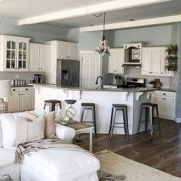38 Totally Difference Farmhouse Kitchen Cabinets | Farmhouse inside Interior Design Living Room Kitchen