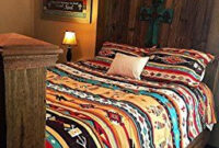 Southwest Turquoise Tan Red Native American Queen Comforter with regard to Cheap Bedroom Design