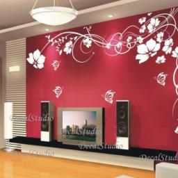 Butterflies Set Of 16 Vinyl Wall Decal   Red Wall Decor for Texture Design For Bedroom Wall