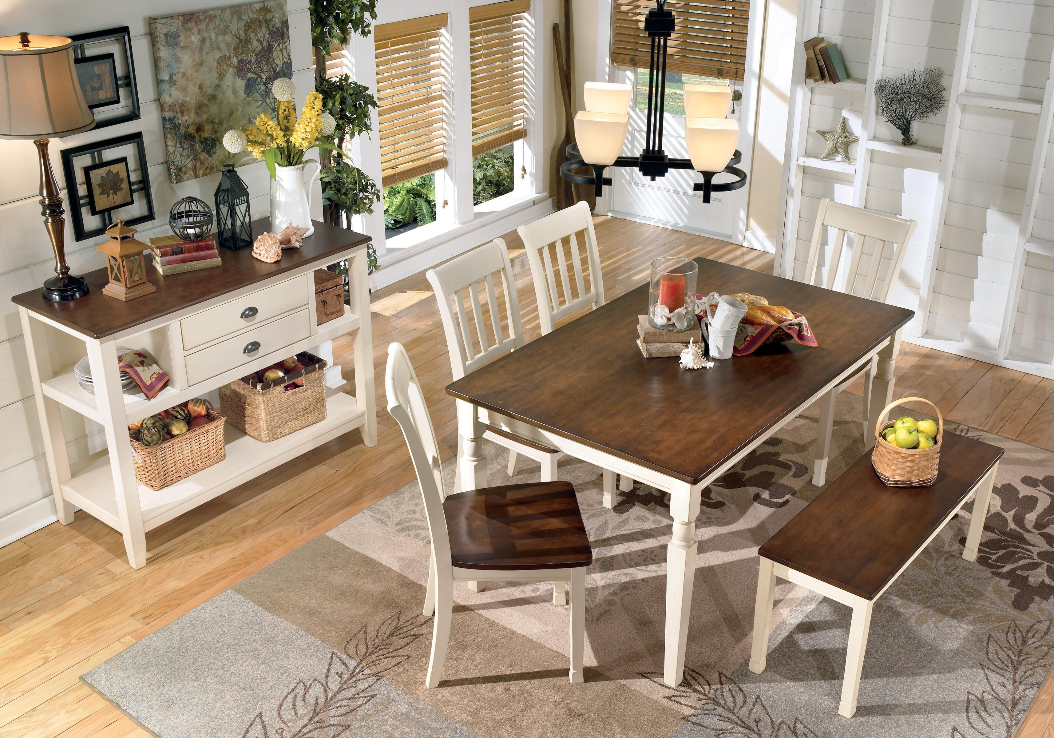 Whitesburg 5-Piece Two-Tone Cottage Round Table Set with regard to Furniture Mart Fort Morgan Co